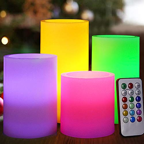 HOME MOST Set of 4 Flickering Real Wax Flameless LED Pillar Candles with Remote 3x3 3x4 3x5 3x6 Multi Colored - Unscented Battery Operated Pillar Candles Bulk - Color Changing Candles for $<!--$23.99-->