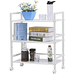 LANGRIA 3-Tier Kitchen Microwave Oven Rack Shelving Unit Microwave Shelves, Adjustable Microwave Storage Shelf with Wire Mesh Shelves Storage Rack, Ivory White