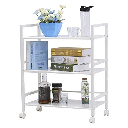 LANGRIA 3-Tier Kitchen Microwave Oven Rack Shelving Unit Microwave Shelves, Adjustable Microwave Storage Shelf with Wire Mesh Shelves Storage Rack, Ivory White by LANGRIA