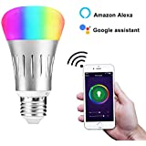 NEWHOPE Smart WiFi Light Bulb, E27 LED RGB Color Changing, Compatible with Amazon Alexa and Google Home Assistant, Hallway, Patio, Garage
