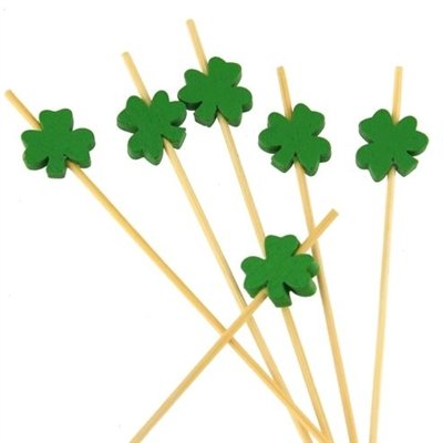 BambooMN 5.9 Inch Decorative Green Clover Bamboo Cocktail Sandwich Fruit Swizzle Picks, Luck of the Irish Party Supplies, 100 Pieces