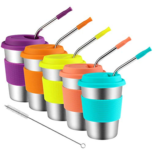 Kids Stainless Steel Cups With Silicone Lids & Straws, Kereda 5 Pack 12 oz. Drinking Tumblers Eco-Friendly BPA-Free for Adults, Children and Toddlers ()