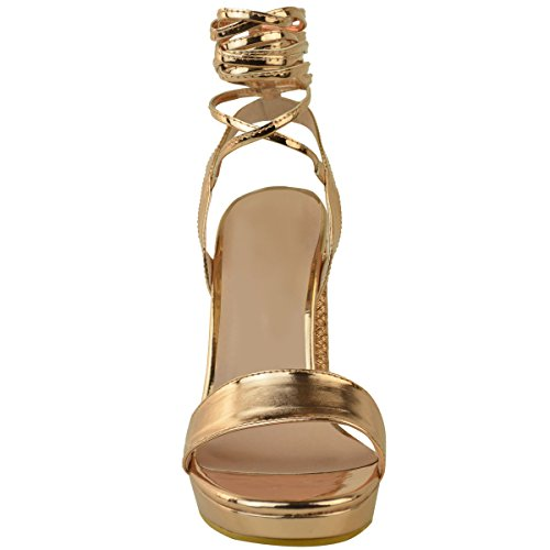 High Platform Thread Thirsty Strappy Metallic Fashion Block Rose Heel Hessian Gold Womens Size Metallic Sandals YwXvxf