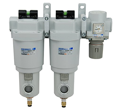 PneumaticPlus SAMU350-N04DGS-MEF-S Three Stage Air Drying System - Water Separator, 0.01 Micron Coalescing Filter, Air Pressure Regulator Modular Combo 1/2