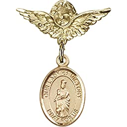 Gold Filled Baby Badge with Our Lady of Victory Charm and Angel w/Wings Badge Pin 1 X 3/4 inches