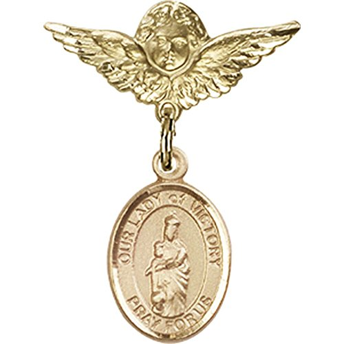 14kt Yellow Gold Baby Badge with Our Lady of Victory Charm and Angel w/Wings Badge Pin 1 X 3/4 inches by Unknown