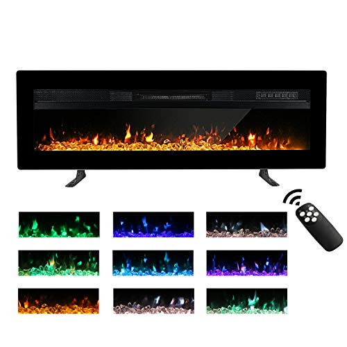 Maxhonor 40 Inches Electric Fireplace Insert Wall Mounted Freestanding Heater with Remote Control, 1500/750W, Black