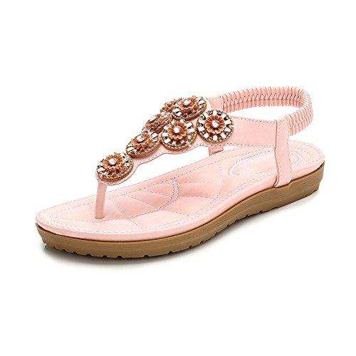 Beads Flat Mujer Zapatos Pink Sandals Fashion Bohemia De Summer Rqg5CR