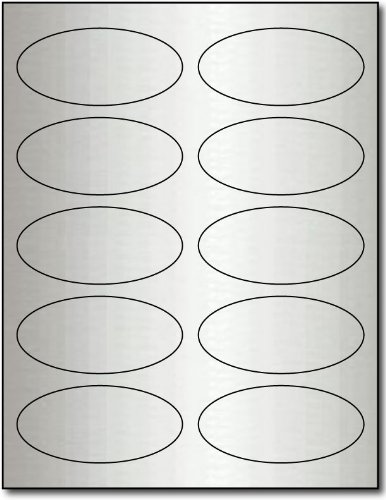 "Hot 1 3/4 X 3 3/4"" Oval Silver Foil Labels for Laser Printers - 10 Sheets / 100 Labels"