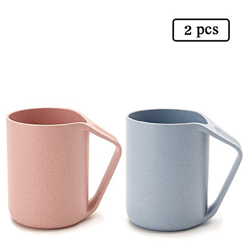 UPSTYLE Retro Eo-friendly Wheat Straw Lightweight Cup Biodegradable Mug Plastic Tumbler for Water, Coffee, Milk,Tea Size 13.5 oz Blue&Pink Pack Of 2