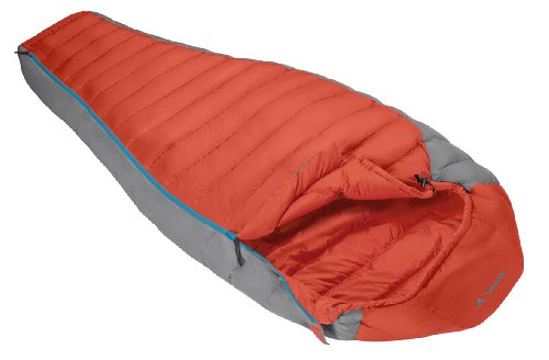 VAUDE Cheyenne 700 - Lightweight & Comfortable Down Sleeping Bag - Mummy Shape - Perfect for Backpacking, Hiking and Camping - 3 season for Spring to Autumn Use - Orange ()