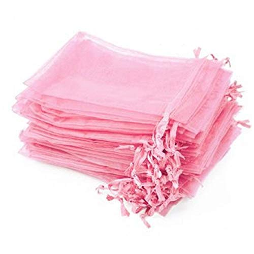 Yansanido 100 Pack (10cm x12 cm) Pink Organza Gift Bags Baby Shower Wedding Party Favor Bags Jewelry Pouches Wrap (Pink 4''x5'')]()