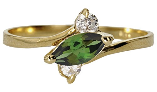 Genuine Marquise Emerald Ring (10k Yellow Gold Round Faceted Natural Genuine Green Emerald Sideways Marquise Simple Vintage Band Ring Size 6)