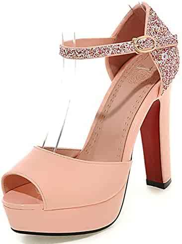 d3293ccf223 Summerwhisper Women s Sexy Sequined Ankle Strap Peep Toe Chunky High Heel  Dress Shoes Platform Sandals