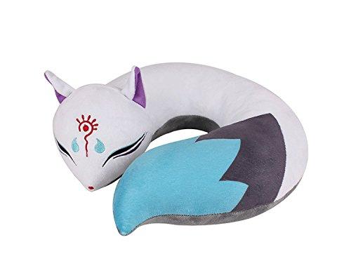 Cute Cat /Fox Spirit Plush Doll Toy U-Shape Neck Travel Pillow Gift Animation (Fox) (Fox Doll)
