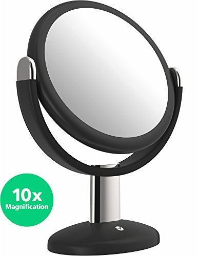 Vanity Mirror - 7 Inch Round Makeup Cosmetic Mirror for Bathroom or Bedroom Table Top - Portable Double Sided Glass Mirror Stand with 360 Degree Swivel - Black (Round Vanity Stand Mirror)
