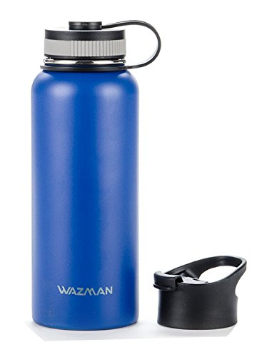 WAZMAN 32oz Stainless Steel Insulated Water Bottle with 2 lids, Double Wall Vacuum Bottles for Sports Gym Office Travel Camping Hiking Cycling, Blue