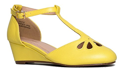 J. Adams Retro Ankle Strap Mary Jane Wedge - Low Teardrop Cut Out Pump Shoe - Tootie
