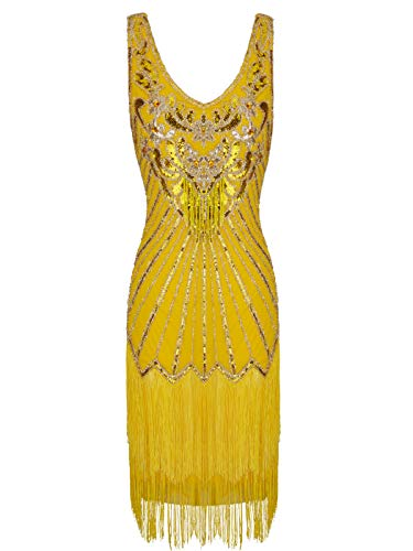 FAIRY COUPLE 1920s Sequined Short Flapper Party Dress Double Layer Tassels Hem Cocktail D20S020(XL,Yellow) ()