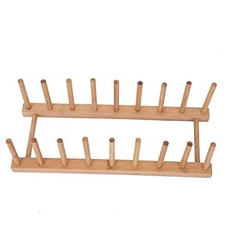 Bandeja de bambú para organizar y secar vasos, platos, tapas; también se puede usar para organizar libros: Amazon.es: Hogar