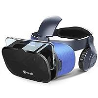 VeeR OASIS VR Headset, gafas de realidad virtual 3D con lente de cristal azul HD, cuerpo ultraligero, compatible con teléfonos inteligentes iOS /Android de 4-6,2 pulgadas, auriculares estéreo con mecanismos de protección ocular
