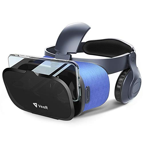 VeeR VR Headset with Anti Blue Light Lens, 360g Ultra Light Weight, Built-in Microphone & On-Ear Headphones, Compatible with 4.7-6.3 inches iOS/Android Smartphones Without Controller