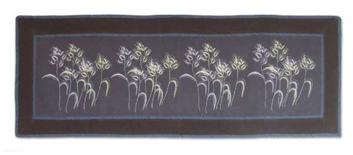 NOVICA Purple Floral Cotton Table Runner, 'Dainty Dance' by NOVICA