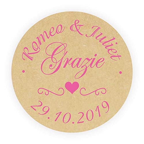 LYLY 50 Adesivi Personalizzate Bomboniere Matrimonio Grazie Rotonde 40 mm Colorata Carta Kraft Etichette Inviti Matrimonio Battesimo Sigilli Nuziali per Buste Fatto a Mano  Rosa