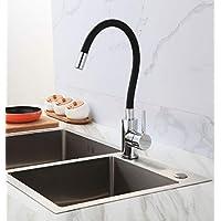 Torneira de Cozinha Gourmet Flexível Monocomando Misturador Mesa Silicone Preta ME07
