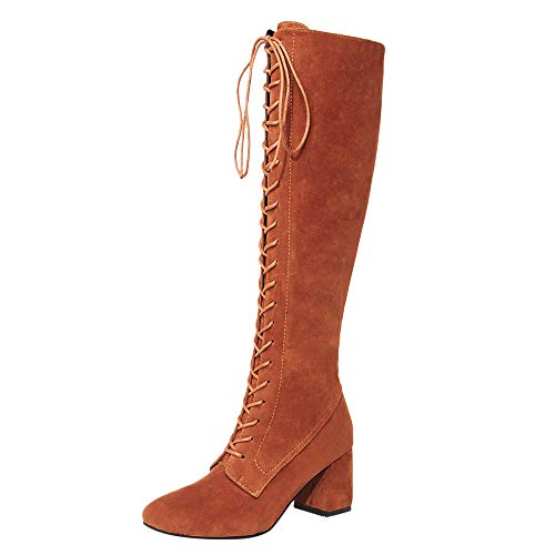 Heels Ladies Martin Knee The Yellow Women Boots Sports Slim Lace High Amlaiworld Straps up High Women's Shoes Over Boots Shoes rxPrvw1