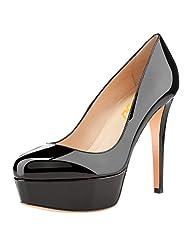 FSJ Women Fashion Round Toe Stiletto Platform High Heel Dress Pumps Size 4-15 US
