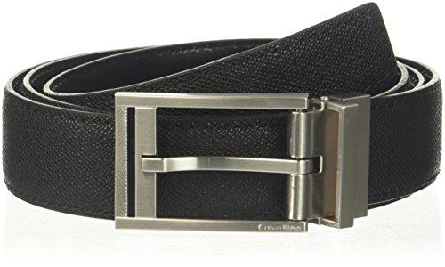 Leather Feather Edge - Calvin Klein Men's 32mm Reversible Pressed Edge Stitch Strap, black 36