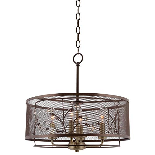"Kira Home Bristol 16.5"" Modern Industrial 4-Light Pendant Chandelier, Metal Mesh Drum Shade + Intricate Crystal Vine Design, Bronze Finish"