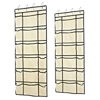 Hosome 2 Pack Over The Door Shoe Organizers with Adjustable Elastic Bands, Hanging Shoe Organizer with 12 Reinforced Mesh Pockets, 6 Large Mesh Storage Compartments, 8 Hooks, Beige, 59x22 inch
