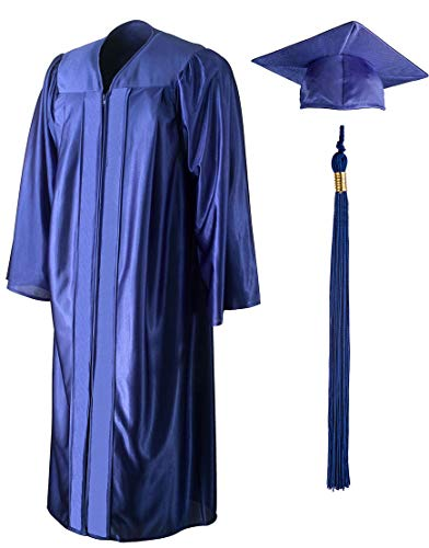 Shiny Graduation Gown, Cap And Tassel Set - Unisex Adult And Teen Graduation Robe For Middle School, High School, College And University Royal Size 48 (Height 5.3 to 5.5 inches tall) ()