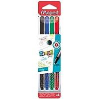 Caneta Fineliner, Maped, Graph Peps, 749020, 0.4mm, 4 Cores, Azul/Verde/Vermelho/Preto
