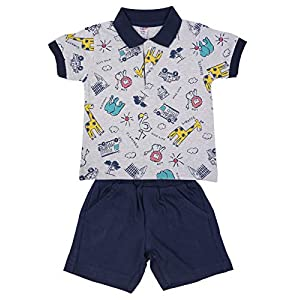 Zero Baby Boys Cotton Clothing Set,Top and Bottom Set Baby Boys and Baby Girl Clothes, Color: White,Dark Blue,Size: 3-6 Months