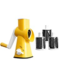 Rotary Cheese Grater Round Mandolin Drum Slicer Vegetable Shredder Cutter Nut Chopper with 3 Interchangeable Shape Stainless Steel Drums
