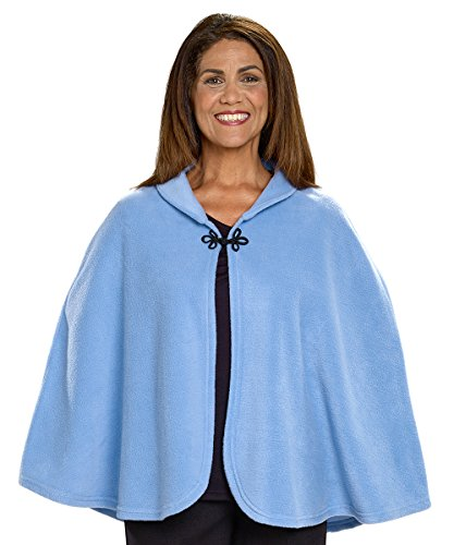 Silverts Disabled Adults & Elderly Needs Womens Warm Bed Jacket Cape Or Bed Shawl - Steel Blue