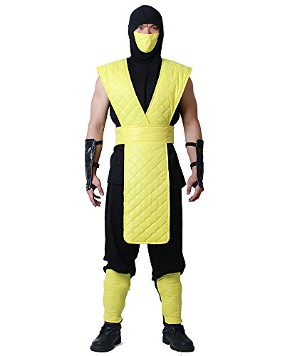Miccostumes Men's Mortal Kombat Scorpion Cosplay Costume (Men l)