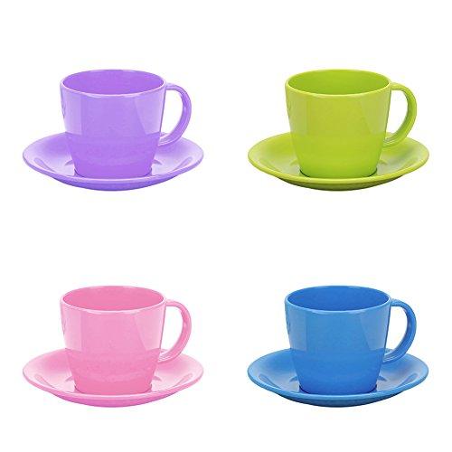 Aspire Break-resistant Plastic Kids Cups Colored Cappuccino Cup Set for Espresso, Set of 4 -