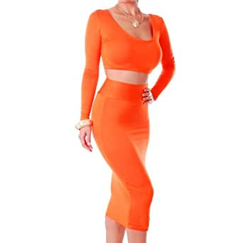 Zeagoo Womens High Waisted Cropped Outfit Two Piece Bodycon Dress Orange