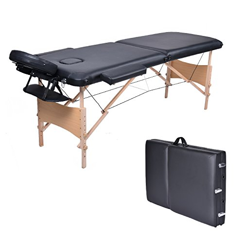 WELLHOME Lightweight 2 Section Wooden Massage Table Portable Professional Adjustable Height Folding Massage Bed Spa Beauty Couch with Headrest, Arm Support, Carry Case , Black
