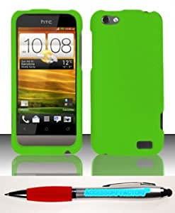 Accessory Factory(TM) Bundle (the item, 2in1 Stylus Point Pen) For HTC One V (Virgin Mobile) Rubberized Case Cover Protector - Neon Green