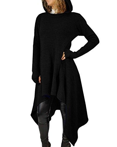 StyleDome Maglia Lunga Donna Vestito Asimmetrico con Cappuccio Manica Lunga Elegante Casual Nero