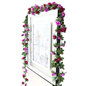 Lannu 2 Pack Artificial Rose Vine Flowers Fake Garland Ivy Flowers Silk Hanging Garland Plants for Home Wedding Party Decorations (Purple) 30