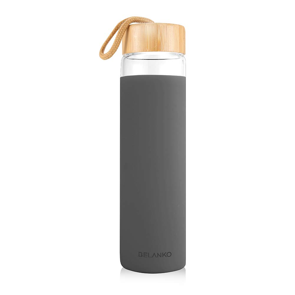 BELANKO Water Bottle BPA Free Glass Water Bottle 20oz with Silicone Protective Sleeve and Bamboo Lid