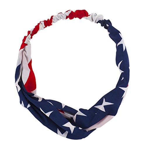 Lux Accessories Patriotic America USA Americana 4th of July American pride Knot Chiffon Printed - Stripes Headwrap