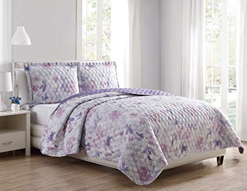S.L. Home Fashions 3 Piece Reese Lilac/White Quilt Set - Quilt Reese