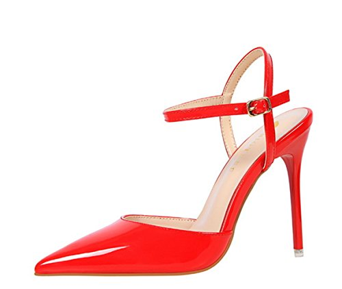 Manyis Fashion New Womens Toe Stiletto Scarpe Da Sposa Cinturini Alla Caviglia Sandali Tacchi Alti Da Donna Scarpe Da Festa Rosso Us7